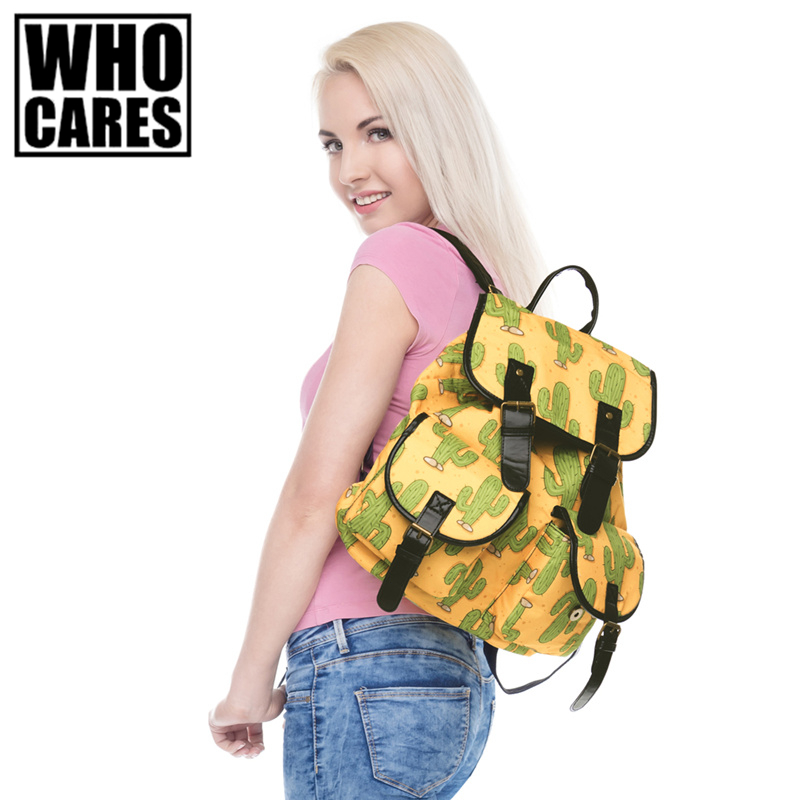 Mexico Cactus Printing leather backpack vintage backpack women 2017 mochila school bags for teenagers sac a dos femme mochilas mexico 15 16 a