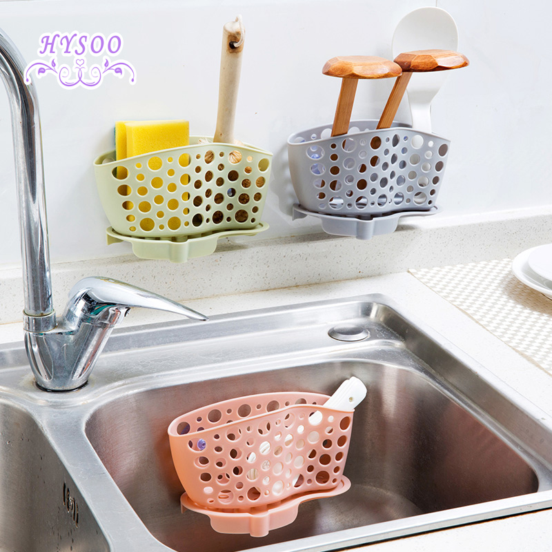 Sucker sink drain and kitchen utensils rack shelving storage Bag hanging basket Drain rack
