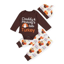 Oklady Baby Thanksgiving Outfit Newborn Boy Girl Letter Print Romper Turkey Print Pant with Hat Clothes Set