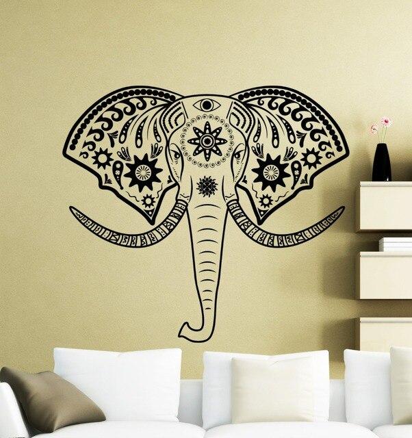 India Elephant Wall Stickers Living Room Home Decor Elephant Mandala ...