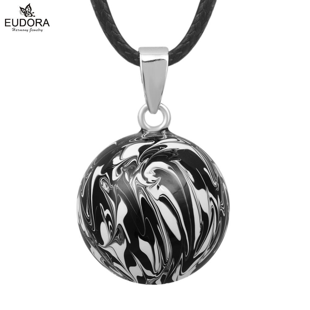 5PCS Antique Black White Paint Ball Pendant Harmony Bola Jewelry For Pregnant Women Angel Caller Wishing Musical Mexico Balls