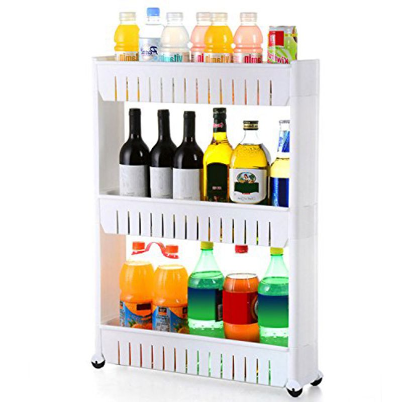 Image 3 - Pratical White 3 Tier Slide Out Hollow Storage Tower in Bathroom With Wheels Home Kitchen Shelf Useful Organizer Save Space-in Storage Holders & Racks from Home & Garden