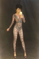 Women Black Net Sexy Jumpsuit Nightclub Party Costume DJ DS Singers Bodysuit Sparkling Black Crystals Bling Women Sexy Outfit