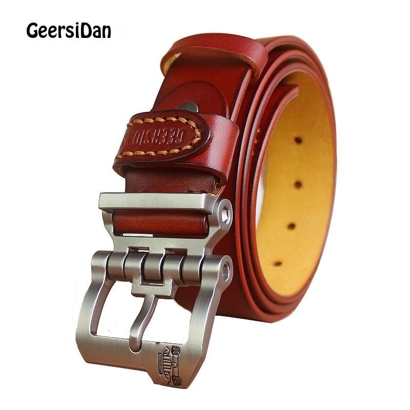 GEERSIDAN 2018 Leather Belt for Men Genuine Cow Leather Male Belt top quality Metal Pin Buckle mens belt black wide jeans strap
