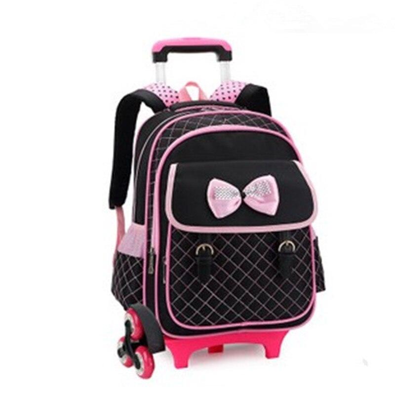 Горячий стиль 3 колеса Palou студент Тележка школьный/Мода Повседневная сумка на молнии с надписями съемный рюкзак девочка Bookbag