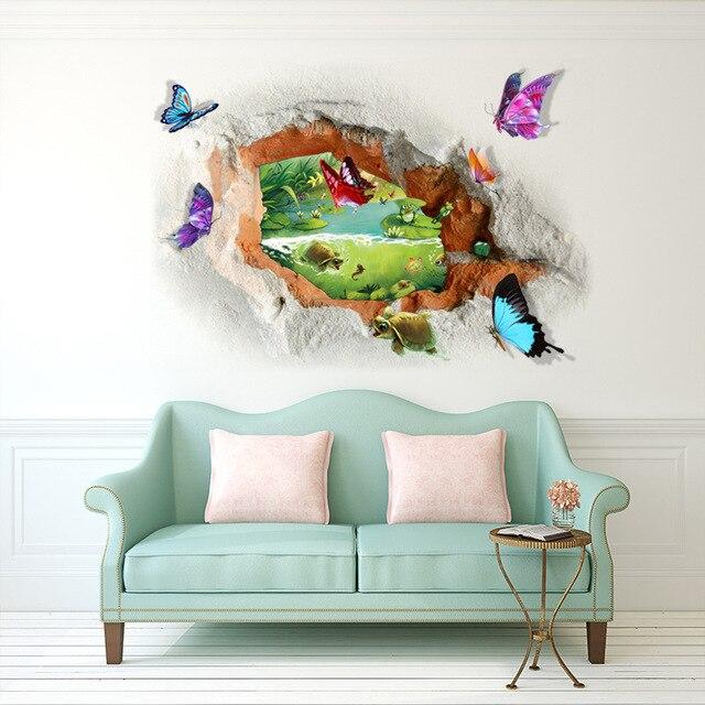 Fantastique papillon pause stickers muraux accueil maison décoration murale et au sol étang paysage papier peint passer la souris dessus pour zoomer