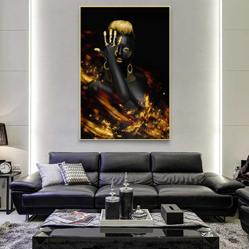 Black and Golded African Nude Woman Oil Painting on Canvas Posters and Prints Wall Art Pictures for Living Room Decor No frame