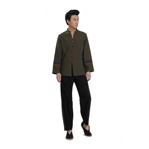 2018 High Quality Men Tang Suit Long-sleeved Linen Shirt Chinese Traditional Clothing Costume Suits