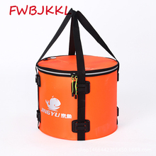 40L Large Capacity Folding Waterproof Fishing Bucket Fishing Bag Fish Protection Barrel Portable Round Eva Fish Bag folding thickened fishing bucket fish protection outer bucket multi function fishing barrel fishing gear