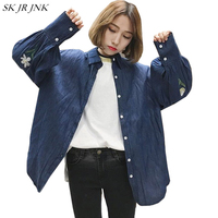 Spring Autumn Women Loong Sleeve Denim Shirt Ladies Pocket Casual Buttons Blouse Female Jean Tops Embroider