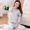 2017 3XL fashion women Plus Size leisure suits 100% cotton sleepwear women cartoon pajamas casual long-sleeved spring pyjamas
