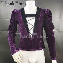 New Mens Ballet Top Custom Made Boys Long Sleeve Ballet Costume Velvet Slim Male Fitness Training Clothes Rave Clothing C577