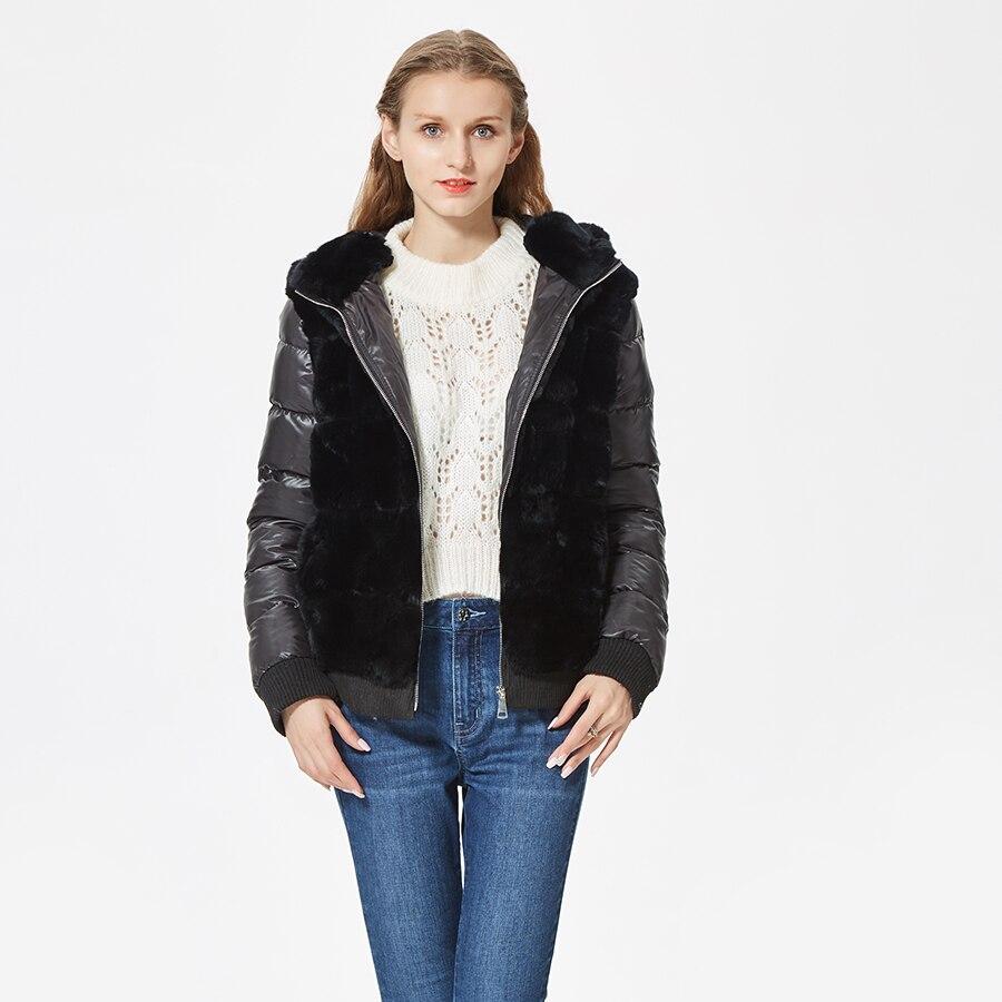 Real rex coelho casaco de pele com capuz para baixo casaco jaqueta de mangas moda desportiva casaco de pele real com capuz