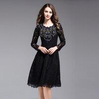 2017 Yeni Varış Siyah Dantel Kadın Bahar Yaz Zarif Elbise Diamonds Dekorasyon Kadın İnce Fermuarlar Oymak Elbiseler
