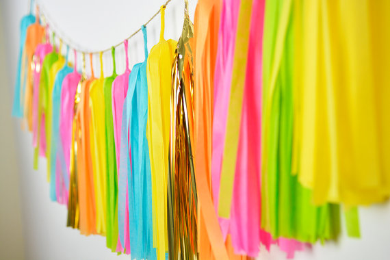 12ft (3.5M) Fiesta Tassel Garland of 30 tassels , Flamingo Party, Fiesta Wedding Banner