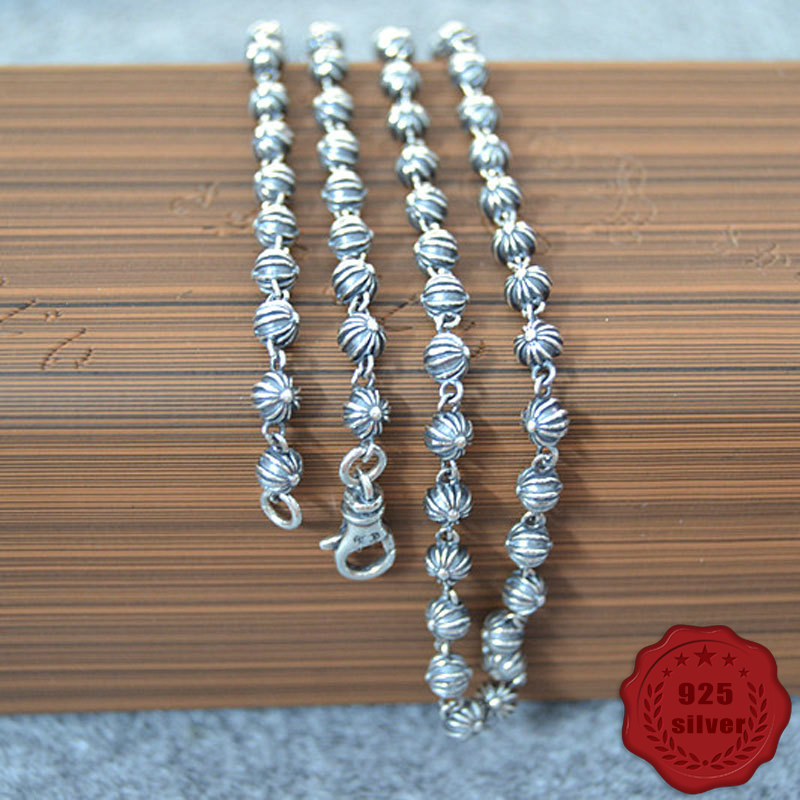 925 sterling silver necklace retro punk hip hop rock style domineering round beads cross shape sweater chain 2018 new hot sale corean hot sale fashion and retro style rose shape design necklace