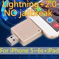 Rayo + 2.0 unidad flash usb otg para el iphone 6/5/ipad/ipod, verdadero 8 gb 16 gb 32 gb 64 gb Pendrives 128 GB 256 GB Pen Drive 512 GB Regalo