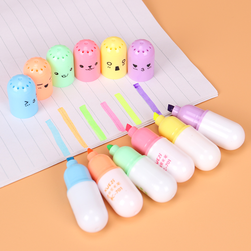 6PCS/set Mini Pill Shaped Highlighter Pens for Cute Smiling Face Graffiti Highlighter Korean Stationery School Office Supplies