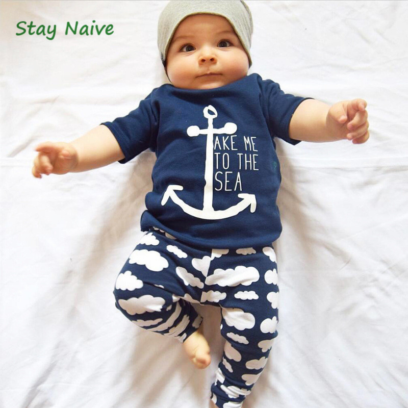 Stay Naive Retail children Europe and the United States summer baby sets sail short-sleeved T-shirt + cloud pants two-piece chil willy and the cloud