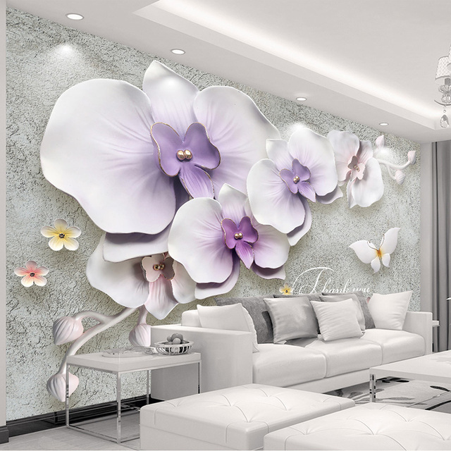 Modern abstract art photo wallpaper 3d embossed purple flower mural modern abstract art photo wallpaper 3d embossed purple flower mural chinese style living room backdrop wall thecheapjerseys Images