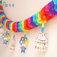 Free shipping 1 piece Childrens Day cartoon colored paper garlands baby nursery decoration birthday party