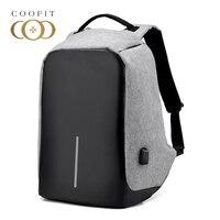 Coofit Unisex USB Backpack Large Capacity Oxford Laptop Backpacks For Men Boys Teens Business Bagpack Male
