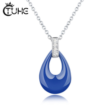 Fashion Blue Pink Water Drop Necklaces For Women Girl Party Jewelry Dancing Crystal Stone Necklace Wholesale