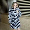 women's real chinchilla fur coat  dyed rex rabbit