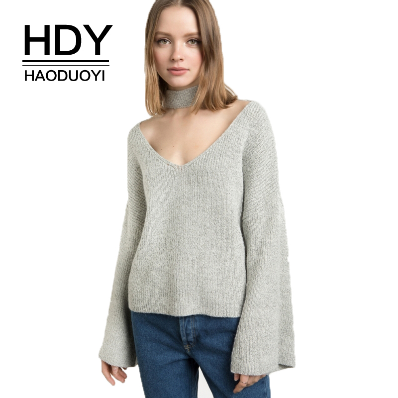 HDY Haoduoyi Gray V Neck Choker Female Pullover Casual Autumn Flare Sleeve Women Sweaters Vintage Sexy Basic Pullover Sweater