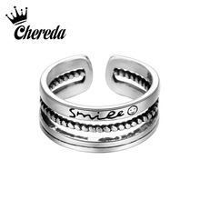 Chereda Antique Vintage  Bridal Sets Rings for Women Men Open Smile Letter Ring Lucky Girl Sweet Jewelry