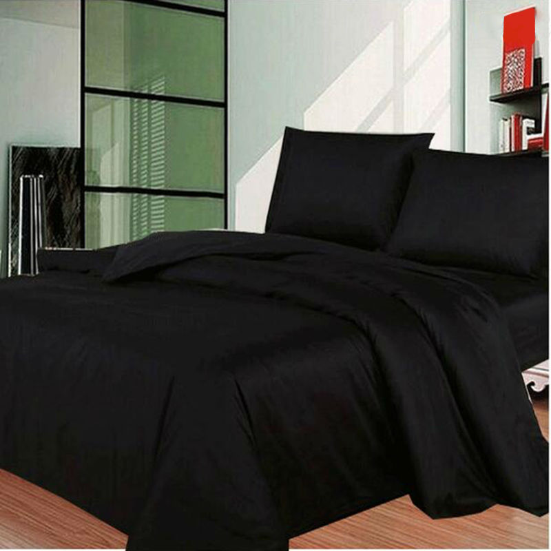 Black Solid Bedding Sets Cotton Duvet Quilt Cover Sets