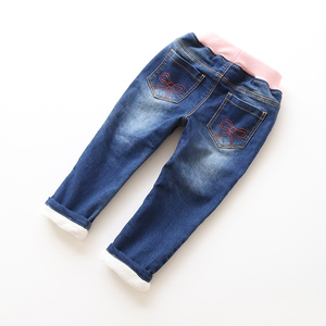Image 2 - New Fashion Girls Autumn Winter Thicken Jeans Baby Embroidery Wam Denim Jeans Kids Elastic Waist Winter Trousers Warm Pants