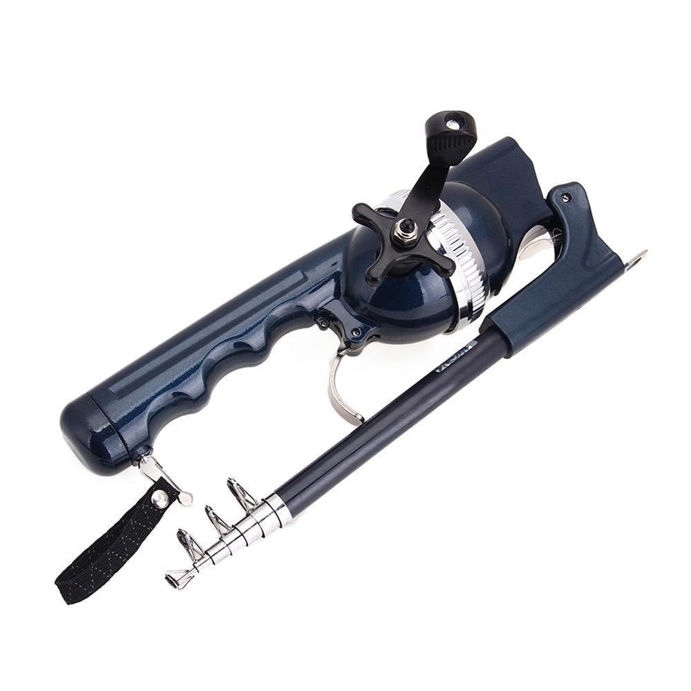 ФОТО Portable Telescopic Fishing Rod With Fishing Reel Sea Spinning 131CM Fishing Tools Dark Blue