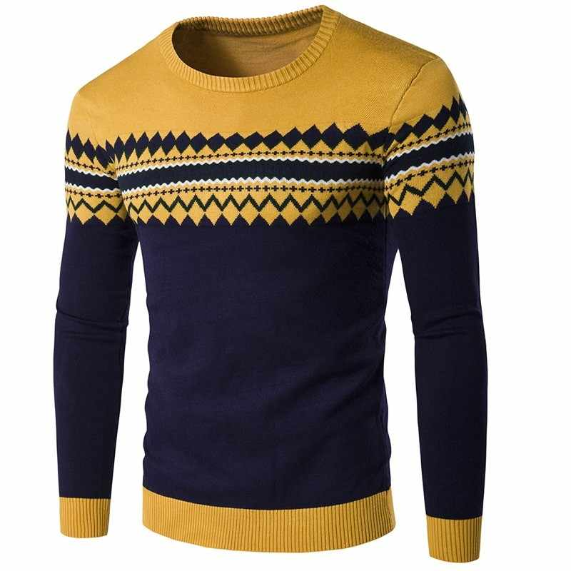 Knitted Sweater Men High Quality Cotton Korean Slim Men Sweater O-neck Casual Pullover Men