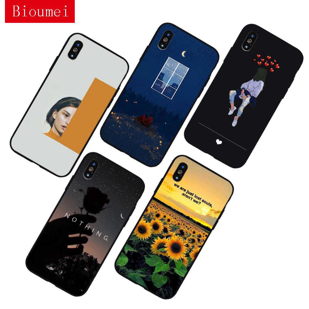 Bioumei эстетично-желтый черный мягкий ТПУ чехол для iPhone SE 11 Pro Max XR X XS 5 6 7 8Plus силиконовый чехол для задней панели