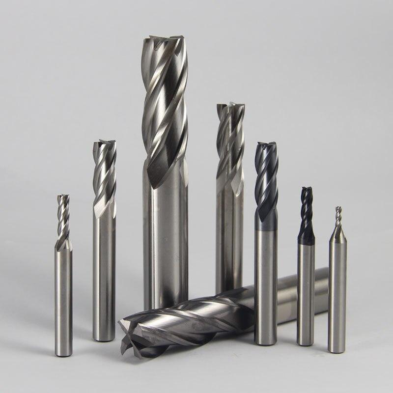 7pcs Carbide End Mill HSS 4 Flutes 1.5mm-6mm Diameter Milling Cutter Straight Shank Router Bit Set CNC Tools uxcell 10 pcs silver tone hss 3mm cutting dia straight shank helical groove 2 flutes milling cutter end mill end mill