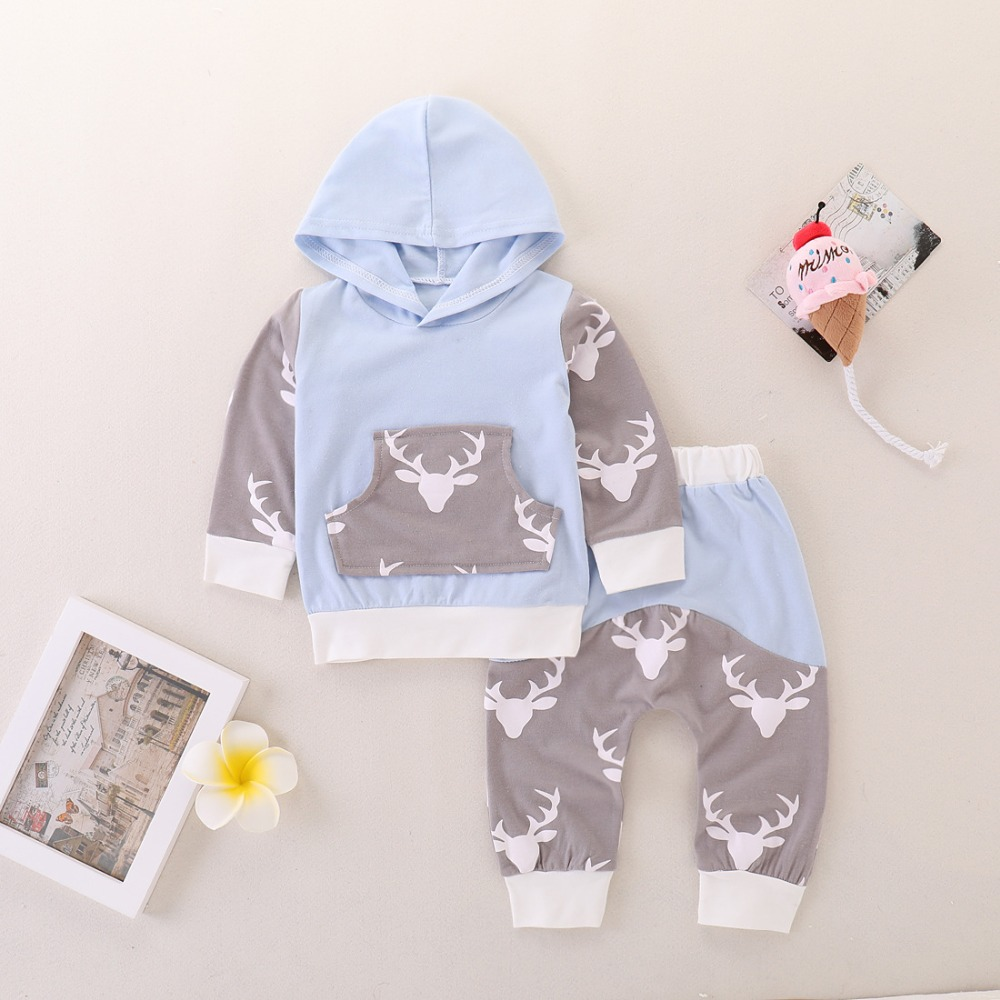 Baby Fashion Clothing 2018 Newborn Boys Christmas Outfits Hooded Tops Long Pants Infant Long Sleeve Tracksuits Reindeer Costumes