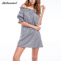 Shilanmei Casual Women Plaid Dress White 2017 White Summer Fashion Half Sleeve Mini Off Shoulder Ruffle
