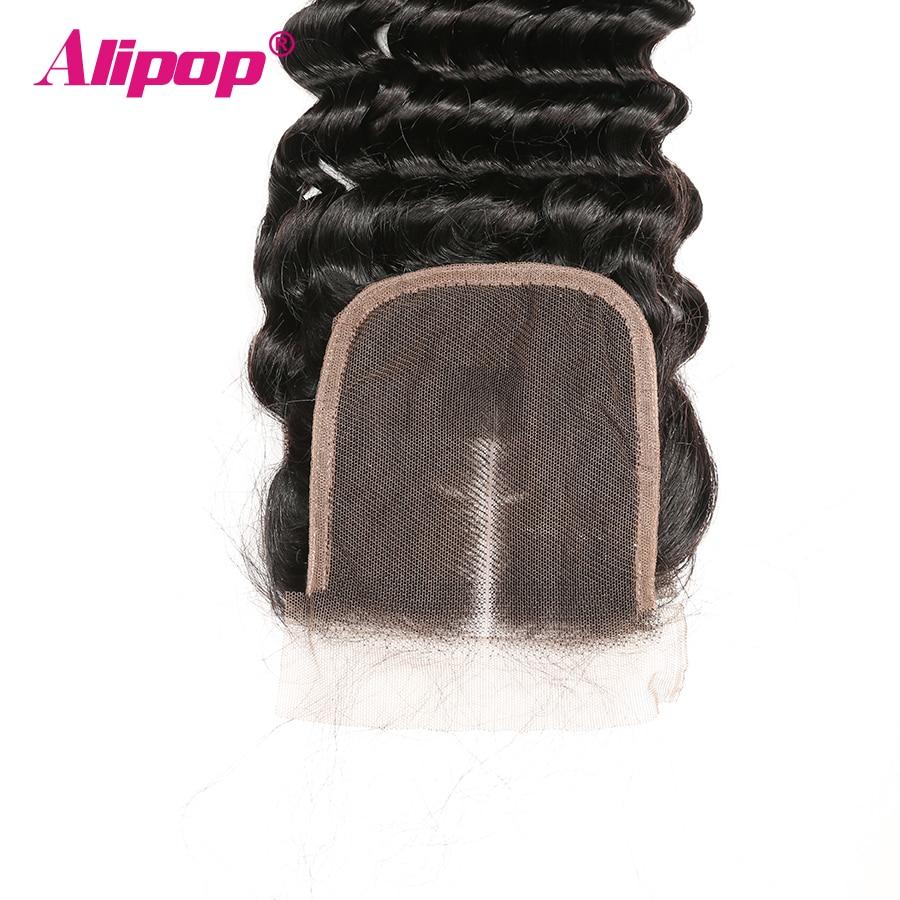 ALIPOP Peruvian Deep Wave Closure With Baby Hair Remy Hair 10 - 24 Inches Lace Human Hair 4x4 Closure Free Kim K Three Part (3)