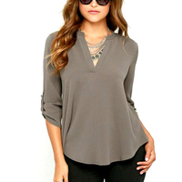 7 Colors Size S XXL 2016 Women V Neck Solid Chiffon Blouse Sexy Lady Long Sleeve