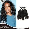 2016 nova peruano Kinky Curly grampo de cabelo em cabelo humano extensões de cabelo virgem 6a peruano Tecer Encaracolado 3 Pacotes baratos free grátis