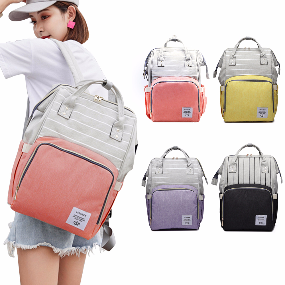 LEQUEEN Baby Diaper Bags New Fashion Striped Mummy Backpack Designer Nursing Care Baby Bag for Mom Travel Maternity Nappy Bag lequeen maternity mummy diaper bag baby care travel outdoor nappy backpack handbag bag for mother backpack nappy changing bags