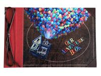 Our Adventure Book, Leather Cover with Balloon House, Scrapbooking Album with Retro Craft Paper, 30 Sheets / 60 Pages, 11.6 x 7.