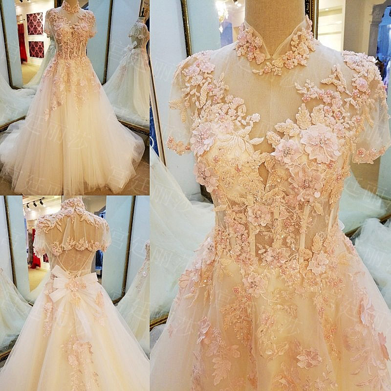 Buy Cheap Real Photo A-Line High Neck Lace Up Court Train Appliques Pearls Sequins Wedding Dress 2017 With Beaded Mariage Wedding Gowns