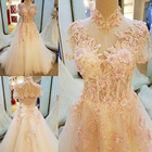 Save 21.9 on Real Photo A-Line High Neck Lace Up Court Train Appliques Pearls Sequins Wedding Dress 2017 With Beaded Mariage Wedding Gowns