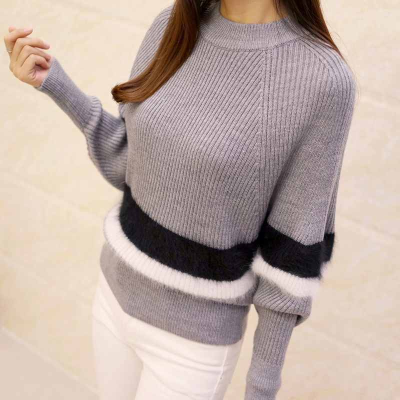 Spring and Autumn Batwing sleeve Knitting render pullovers Korean fashion Stripes O Neck woman Sweater in Pullovers from Women 39 s Clothing