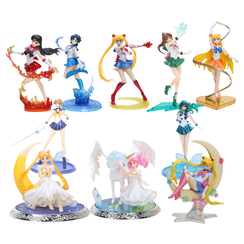 8'' 20cm Super Sailor Moon Figure Toys Anime Sailor Mars Jupiter Venus 1/8 PVC Action Figure Collectible Model Toys