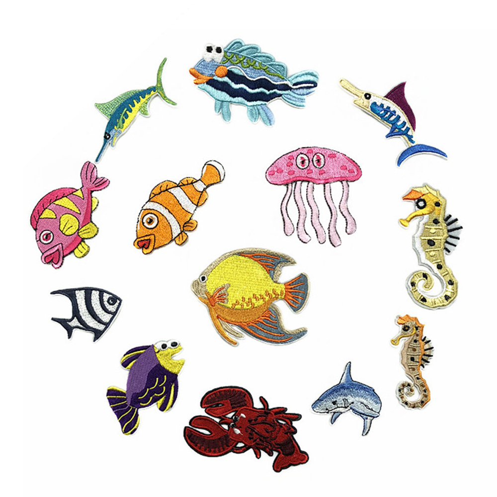Ocean Fish Embroidery Cloth Patches Kidswear Cloth Apparel Bags Decorations Subsidies D-006