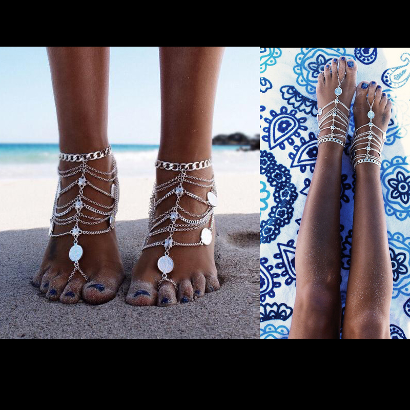 Bohemian Multi Layers Indian Coin Women's Anklet Foot Bracelet Barefoot Sandals Chain Strap Beach Accessories Jewelry For Women