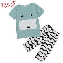 R&Z Baby Boys Clothes Set 2017 Summer New Cute Pig Paste Cartoon Short Sleeve Cotton T-shirt+Wave Shorts 2pcs Kids Clothing Suit
